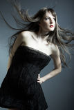 The young beautiful girl in black dress royalty free stock photography