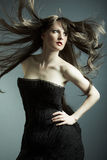 The young beautiful girl in black dress Royalty Free Stock Image
