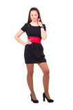 Young beautiful girl in black dress Stock Photos
