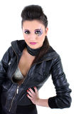 Young beautiful girl in black leather jacket Stock Photos