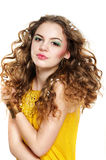 Young beautiful girl. With blond curly hair Stock Photo