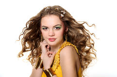 Young beautiful girl. With blond curly hair Royalty Free Stock Image