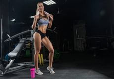 Free Young Beautiful Girl Blonde Athlete Bodybuilder, Resting After A Royalty Free Stock Image - 133401276