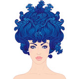 Young beautiful girl with blue hair. Fantasy baroque princess: young beautiful girl with blue big hair in Marie Antoinette style, vector royalty free illustration