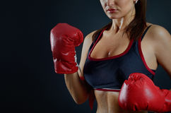 Young beautiful girl with boxing gloves, sport concept Royalty Free Stock Images