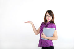 The young beautiful girl in a business suit Stock Photos