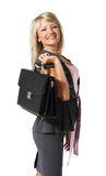 Young beautiful girl, a businesswoman. With a briefcase on the white background stock photography