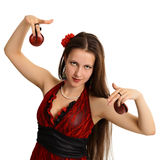 Young beautiful girl with castanets - dancer Stock Photography