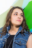 Young beautiful girl in casual clothes. Portrait of young beautiful girl in casual clothes Stock Photo