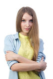 Young beautiful girl in casual clothes. On white Stock Photography