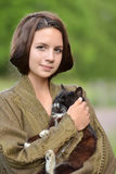 Young beautiful girl with a cat Royalty Free Stock Photo