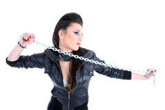 Young beautiful girl with chain Royalty Free Stock Photos