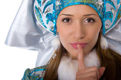 Young beautiful girl in the costume of Snow Maiden Royalty Free Stock Image