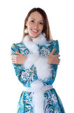 Young beautiful girl in the costume of Snow Maiden Royalty Free Stock Photos