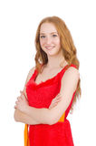Young beautiful girl crossed arms isolated on Stock Image
