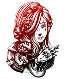 Young beautiful girl crosses fingers. Tattoo on her arm terrible Royalty Free Stock Photos