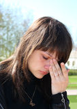 The young beautiful girl crying. Stock Photo