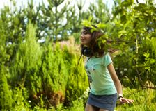Young beautiful girl dancing outdoor Royalty Free Stock Photography