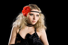 Beautiful girl dancing spanish flamenco. Royalty Free Stock Image