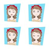 Young Beautiful Girl With Different Facial Emotions Set Of Female Face Expressions Stock Photo