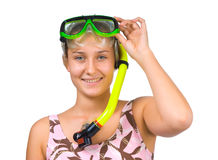 Young beautiful girl diver Stock Photo