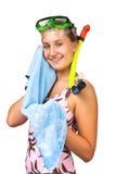 Young beautiful girl diver Stock Photos