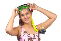 Young beautiful girl diver Royalty Free Stock Photography