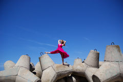 Young beautiful girl doing gymnastic Royalty Free Stock Photography
