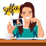 Young beautiful girl doing selfie stock illustration