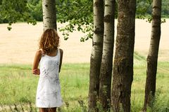 Young beautiful girl dreamy in nature Stock Photography