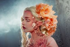 Young beautiful girl elf. Creative make-up and bodyart Royalty Free Stock Photos