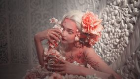 Young beautiful girl elf. Creative make-up and bodyart stock images