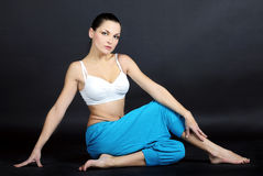 The young beautiful girl is engaged in yoga Stock Image