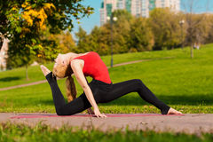 Young beautiful girl is engaged in yoga, outdoors in a park Stock Photo