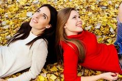 Young beautiful girl enjoying the autumn day Stock Images