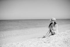 Young beautiful girl enjoying beach tropical Royalty Free Stock Photos