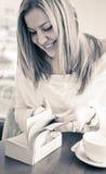 Young beautiful girl enjoying reading Stock Photos