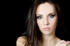 The young beautiful girl with a Evening make-up Royalty Free Stock Photography