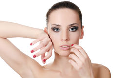 The young beautiful girl with a Evening make-up Stock Images