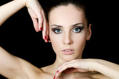 The young beautiful girl with a Evening make-up Royalty Free Stock Photos