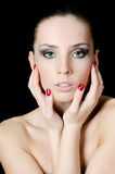 The young beautiful girl with a Evening make-up Royalty Free Stock Images
