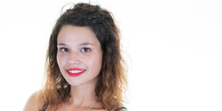 Young beautiful girl fac toothy smile with red lips isolated on white background. Portrait of young beautiful girl fac toothy smile with red lips isolated on royalty free stock photo