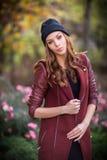 Young beautiful girl fashion shot / Autumn scene Royalty Free Stock Photo