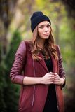 Young beautiful girl fashion shot / Autumn scene Stock Photo
