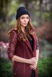 Young beautiful girl fashion shot / Autumn scene Stock Photos