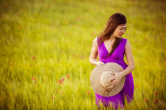 Woman on meadow Royalty Free Stock Photography
