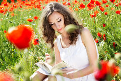 Young beautiful girl in the field of poppies Royalty Free Stock Images