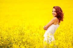 Young beautiful girl in the field Royalty Free Stock Image