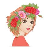 A young beautiful girl with a flower wreath on his head. Royalty Free Stock Photo