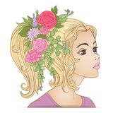 A young beautiful girl with a flower wreath on his head. Stock Photography